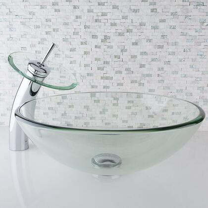 VGT059CHRND Crystalline Glass Vessel Sink and Waterfall Faucet Set in Chrome