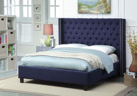 Ashton ASHTONNAVY-Q Queen Size Upholstered Bed with Deep Detailed Tufting  Chrome Nailheads and Wing Design in