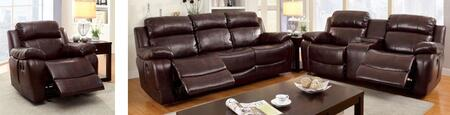 Hughes Collection CM6312-SLR 3-Piece Living Room Set with Motion Sofa  Motion Loveseat and Recliner in Dark
