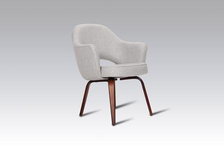 Executive FB8029LGREY Armchair with Ash Wood Legs  Piped Stitching and Fabric Upholstery in Light