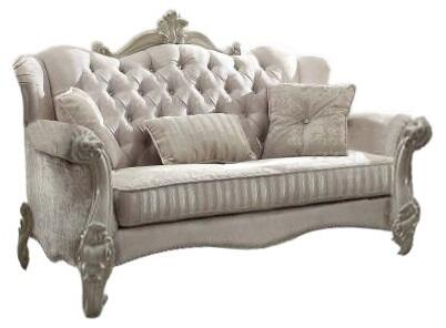 Versailles Collection 52105 92 inch  Sofa with 5 Pillows  Scrolled Legs  Ivory Velvet Upholstery  Crystal Like Button Tufted Back and Nail Head Trim in Bone