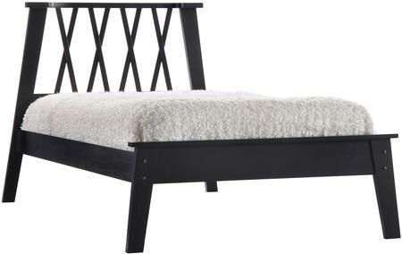 Moffett Collection 25390Q Queen Size Bed with  inch X inch  Pattern Headboard  Low Profile Footboard  Slat System Included and Poplar Wood Construction in Black