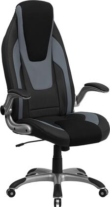 CH-CX0326H02-GG High Back Black & Gray Vinyl Executive Office Chair with Black Mesh Insets and Flip Up