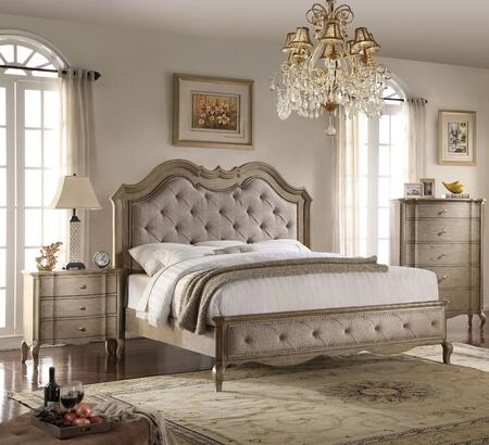 Chelmsford Collection 26050Q3SET 3 PC Bedroom Set with Queen Size Bed  Chest and Nightstand in Antique Taupe