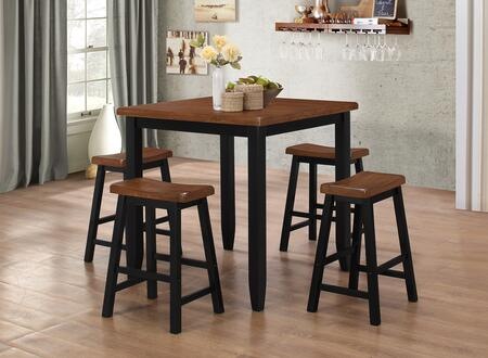 5000-36 Winston 5 PC Pub Set Including One Table and 4 Chairs with Distressed Detailing and Tapered Legs in Ebony & Warm Maple