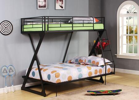 Zazie Collection 37140 Twin Over Full Size Bunk Bed with Reversible Ladder  Easy Access Guardrail  Slat System Included and Steel Tube Construction in Sandy