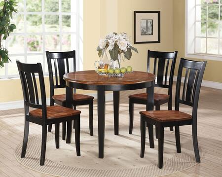 Galan Collection 71215SET 5 PC Dining Room Set with Dining Table + 4 Side Chairs in Black and Oak