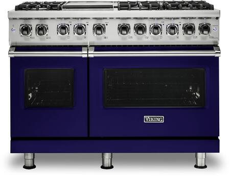 "VDR5486GCB 48"" 5 Series Dual Fuel Self-Clean Sealed Burner Range with 6 Brass Sealed Burners  Griddle  93500 BTU  Total 7.3 cu. ft. Self Clean Convection Oven"