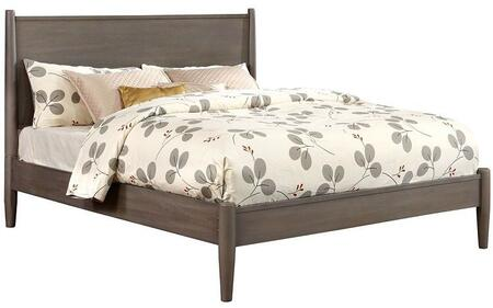 Lennart Collection CM7386GY-CK-BED California King Size Panel Bed with Mid-Century Style  Tapered Legs  Wooden Headboard and Wood Veneer Construction in Grey