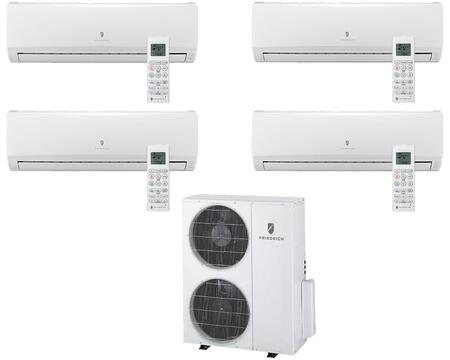 Multi-Zone Ductless Split System for 4 Rooms  with 34 000 BTUs  Inverter Technology  4-Way Auto Swing  Heat Pump  17.5 SEER  12.5 EER  R410A