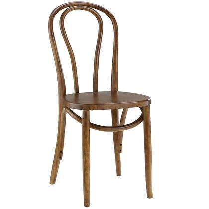 Eon Collection EEI-1543-WAL Dining Side Chair with Solid Elm Wood Construction  Tapered Legs  Contemporary Style  Non-Marking Feet Caps and Polyurethane