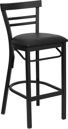 XU-DG6R9BLAD-BAR-BLKV-GG HERCULES Series Black Ladder Back Metal Restaurant Bar Stool - Black Vinyl