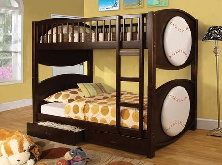 Olympic II Collection CM-BK065-BSBL-T-BED Twin Size Bunk Bed with Baseball-Theme  Storage Drawers  Solid Wood and Wood Veneer Construction in Dark Walnut