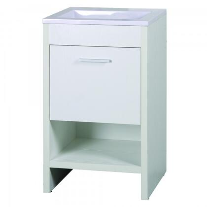 YVEC-5101WH 20 inch  Single Vanity with Ceramic Top  Single Faucet Hole  ceramic Basin and 1 Drawer and a Shelf in White Cabinet