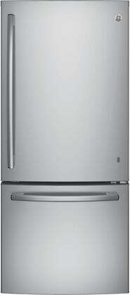 GE 20.9 Cu. Ft. Bottom-Freezer Refrigerator Stainless steel GBE21DSKSS