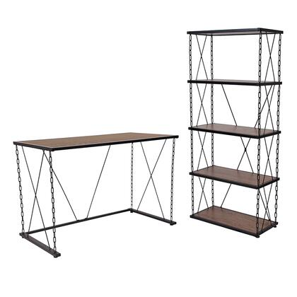 Vernon Hills Collection NAN-CEK-38-GG Antique Wood Grain Finish Computer Desk And Four Shelf Bookshelf With Chain Accent Metal