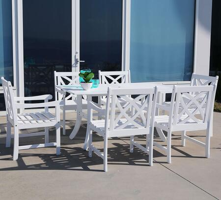 V1337SET15 Bradley Eco-friendly 7-piece Outdoor White Hardwood Dining
