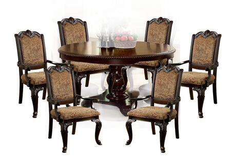Bellagio Collection CM3319RT6FAC 7-Piece Dining Room Set with Round Dining Table and 6 Fabric Armchairs in Brown Cherry