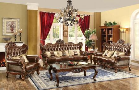Jericho Collection CM6786-SLC-PK 3-Piece Living Room Set with Stationary Sofa  Loveseat and Chair in Brown and Dark
