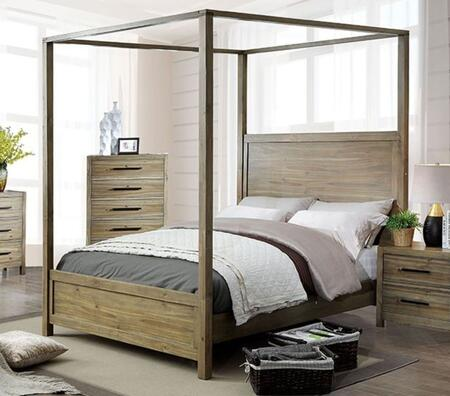 CM7355Q-BED Queen Size Bed with Wood Veneer  Canopy Style  Plank Foot and Headboard  in Light
