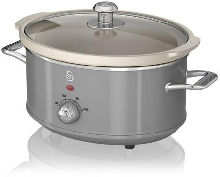 SF17021GRN 3.5 Liter Retro Slow Cooker with Tempered Glass Lid  Power Light Indicator and Removable Ivory Crock Pot in