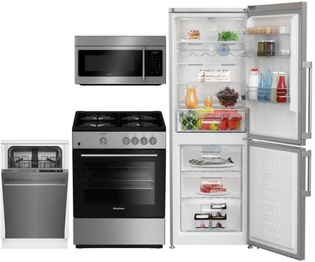 4-Piece Apartment Size Kitchen Appliance Package with BRFB1044SS 24