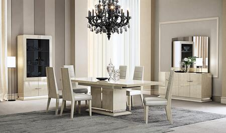 Chiara Collection 18754-DT 79 inch  - 99 inch  Extendable Dining Table with Light Walnut Gloss Veneer