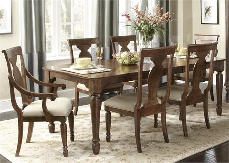 Rustic Tradition Collection 589-DR-7RLS 7-Piece Dining Room Set with Rectangular Dining Table  2 Arm Chairs and 4 Side Chairs  in Rustic Cherry