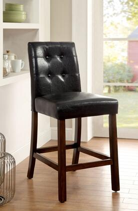 Marstone II Collection CM3368PC-2PK Set of 2 Counter Height Chair with Black Leatherette Seat  Tufted Detailing and Tapered Legs in Brown Cherry