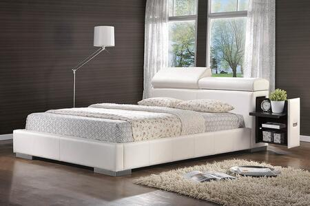 Maxine Collection 300379Q Queen Size Bed with Leatherette Upholstery  Adjustable Headrests  2 Hidden Storage Compartments and Wood Frame Construction in