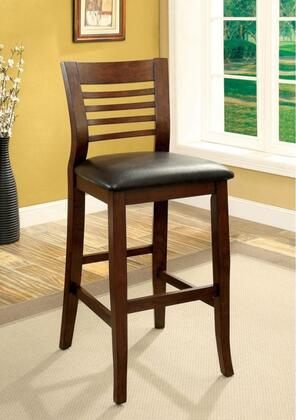 Dwight II Collection CM3988BC-2PK Set of 2 Bar Chair with Ladder Back and Padded Leatherette Seat in Brown