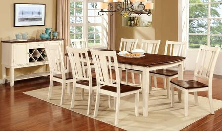 Dover Collection CM3326WCT8SCSV 10-Piece Dining Room Set with Rectangular Table  8 Side Chairs and Server in Vintage
