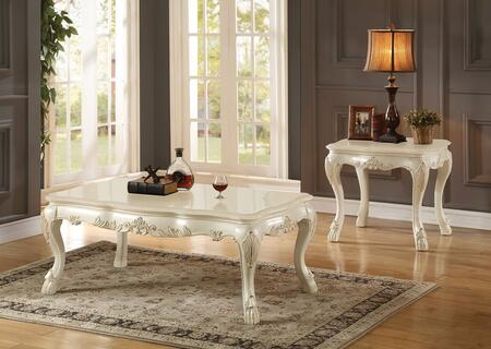 Dresden 83260CE 2 PC Living Room Table Set with Coffee Table + End table in Antique White