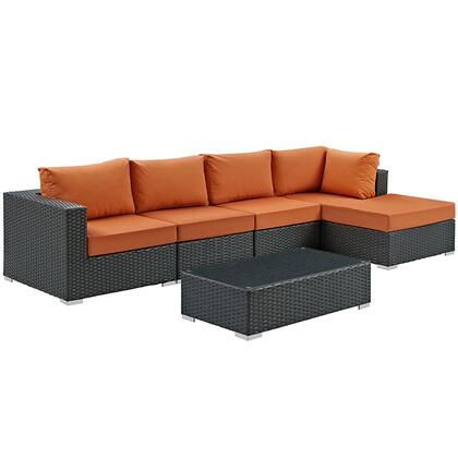 Sojourn Collection EEI-1886-CHC-TUS-SET 5-Piece Outdoor Patio Sunbrella Sectional Set with Coffee Table  Corner Section  Right Arm Chaise and 2 Armless Chairs