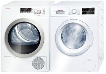 Front Load Laundry Pair with WAT28400UC 24 inch  Washer and WTB86201UC 24 inch  Electric Dryer in