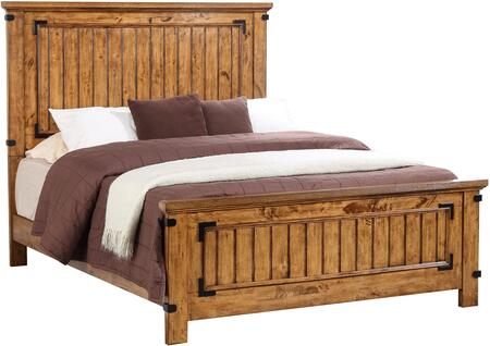 Brenner Collection 205261Q Queen Size Panel Bed with Clean Line Design  Molding Details  Metal Accents and Hardwood Construction in Rustic