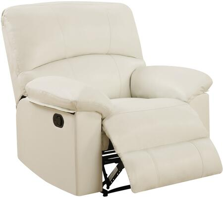 U99270-WHITE-RECLINER 40 inch  Recliner with Plush Padded Arms and Split Back Cushion in
