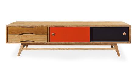 STO-MC-COLORPOP-OAK Color Pop Mid-Century Modern Media Cabinet  Oak/Orange And Charcoal
