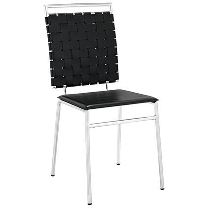 Fuse Collection EEI-1106-BLK Dining Side Chair with Chrome Plated Metal Frame Construction  Modern Style  Foam Filled Seat Cushion and PVC Back Webbing in
