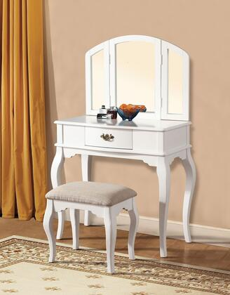 Maren 90101 32 inch  Vanity and Stool with 1 Decorative Hardware Drawer  Tapered Legs and Cushioned Stool Seat in White