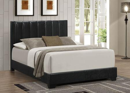 Moderno Collection Twin Size Bed with Low Profile Footboard  High Headboard  Solid Tropical Hardwood Construction  Wood Veneer Materials and Faux Leather