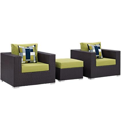 Convene Collection EEI-2363-EXP- 3-Piece Outdoor Patio Sofa Set with Ottoman and 2 Armchairs in Espresso and
