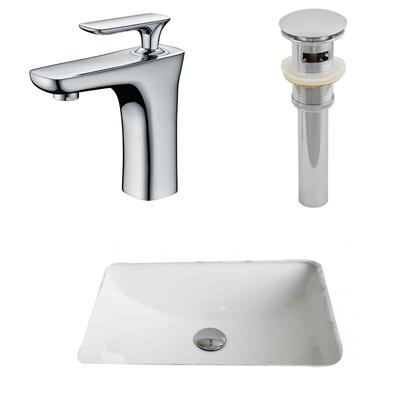 AI-13262 20.75-in. Width x 14.35-in. Diameter CUPC Rectangle Undermount Sink Set In White With Single Hole CUPC Faucet And