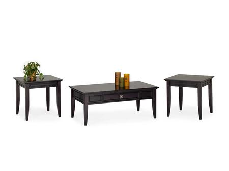 30-003-30 Franklin Park 3 Piece Living Room Table Set with Cocktail Table and Two End Tables  Wood Construction  Detailed Molding  Tapered Legs and Wood