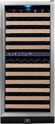 KBU-100D-SS 24 inch  2 Temperature Zones Wine Cooler with 106 Bottle Capacity  Warp Resistant Wood Shelves  Blue LED Lighting and Door Lock: Glass Door with