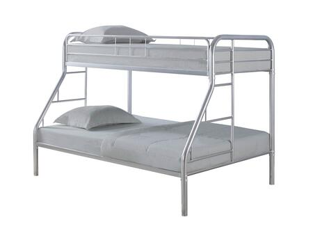 Morgan Collection 460378V Twin over Full Size Bunk Bed with Open Frame Design  Built-In Ladder  Full Length Guardrails  Slat Kit Included and Steel Metal