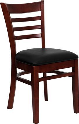XU-DGW0005LAD-MAH-BLKV-GG HERCULES Series Mahogany Finished Ladder Back Wooden Restaurant Chair - Black Vinyl