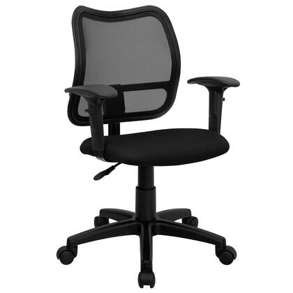 WL-A277-BK-A-GG Mid-Back Mesh Task Chair with Black Fabric Seat and