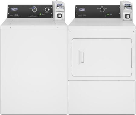 Commercial Laundry Pair with MAT20CSAWW 2.9 cu. ft. Top Load Washer and MDE20CSAYW 7.4 cu. ft. Electric