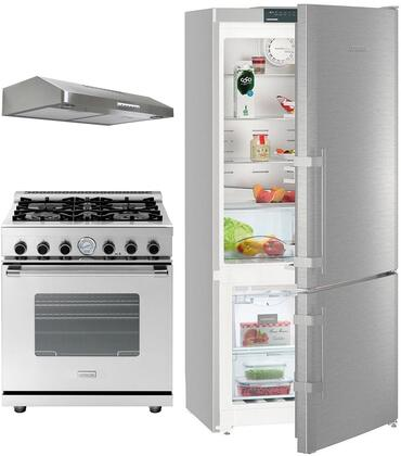 3-Piece Kitchen Package with CS1400RIM 36 inch  Counter Depth Bottom Freezer Refrigerator  RN241GPSS 24 inch  Freestanding Gas Range  and LEVA24SS300B 24 inch  Under Cabinet